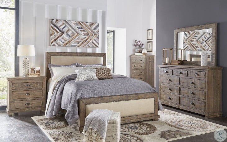 willow weathered gray upholstered bedroom set
