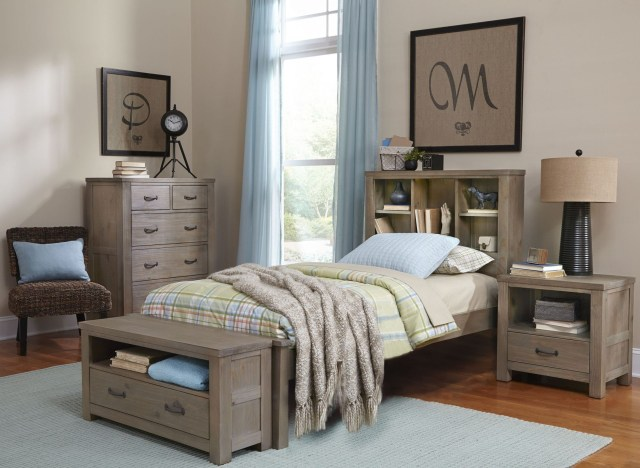 Highlands Driftwood Bookcase Youth Panel Bedroom Set from NE Kids