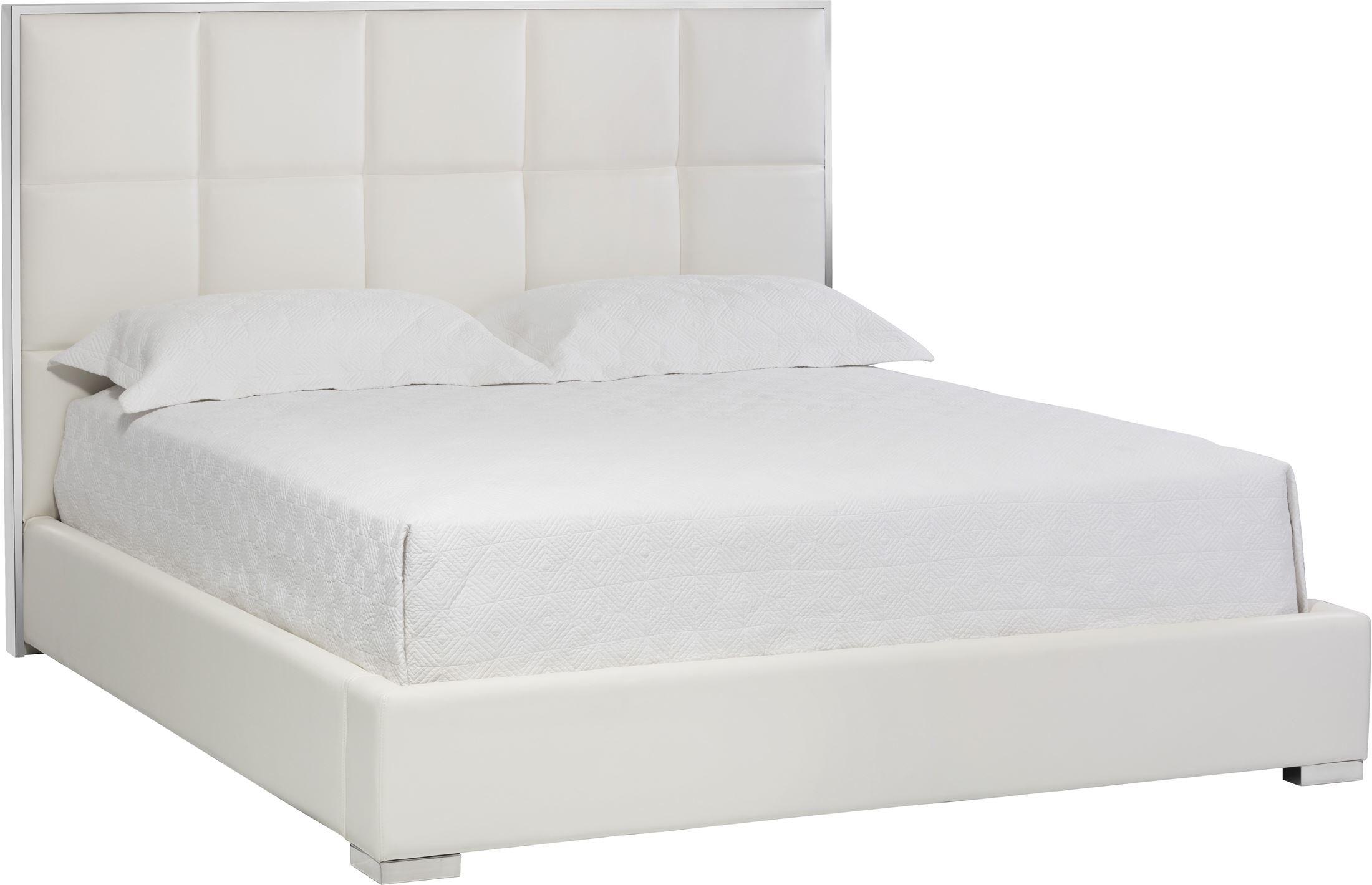Tompkins White Leather King Platform Bed Sunpan