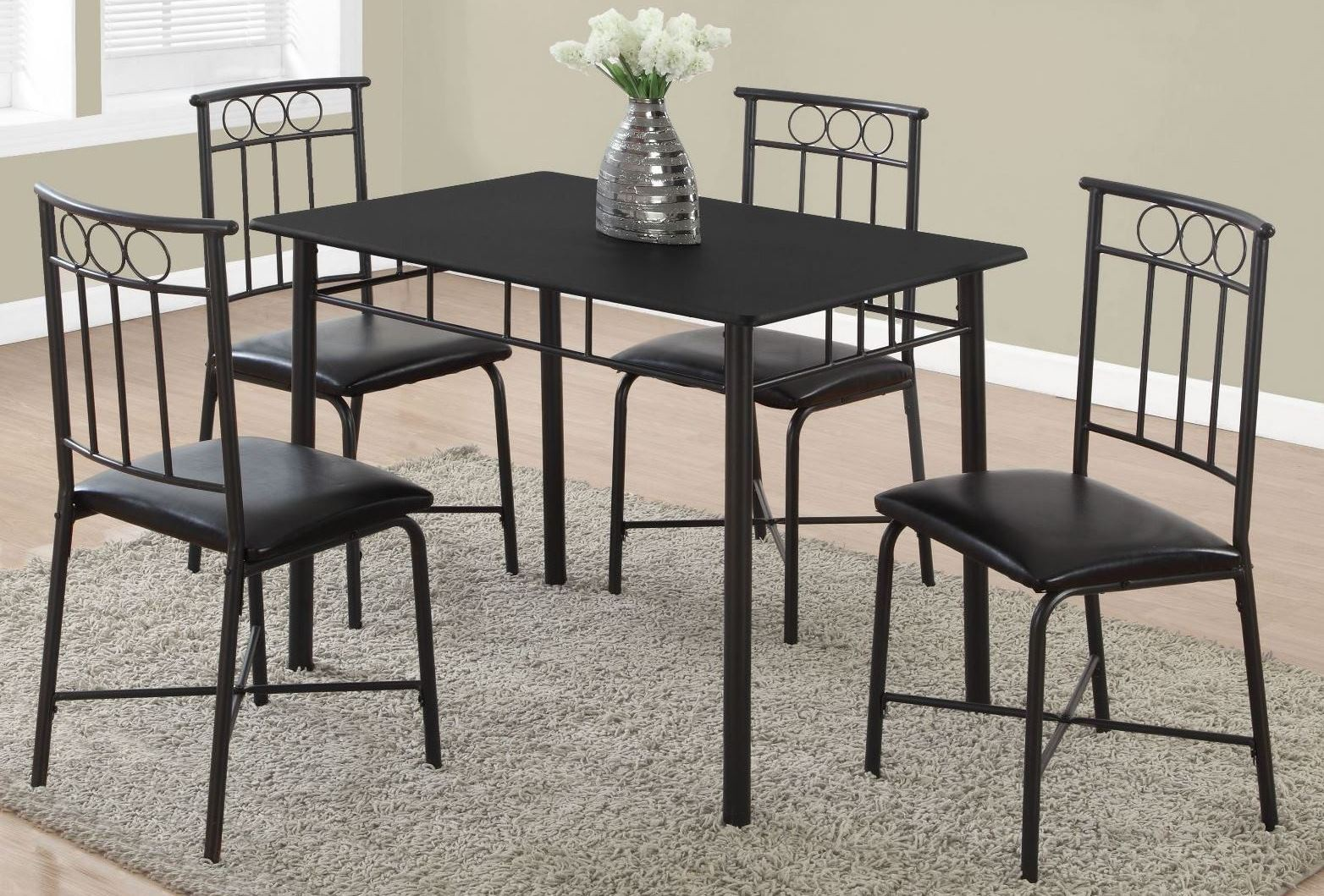 Black Metal 5 Piece Dining Room Set From Monarch Coleman