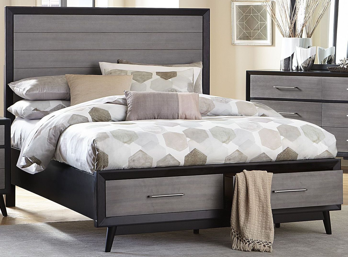 Raku Walnut Cal King Storage Platform Bed From