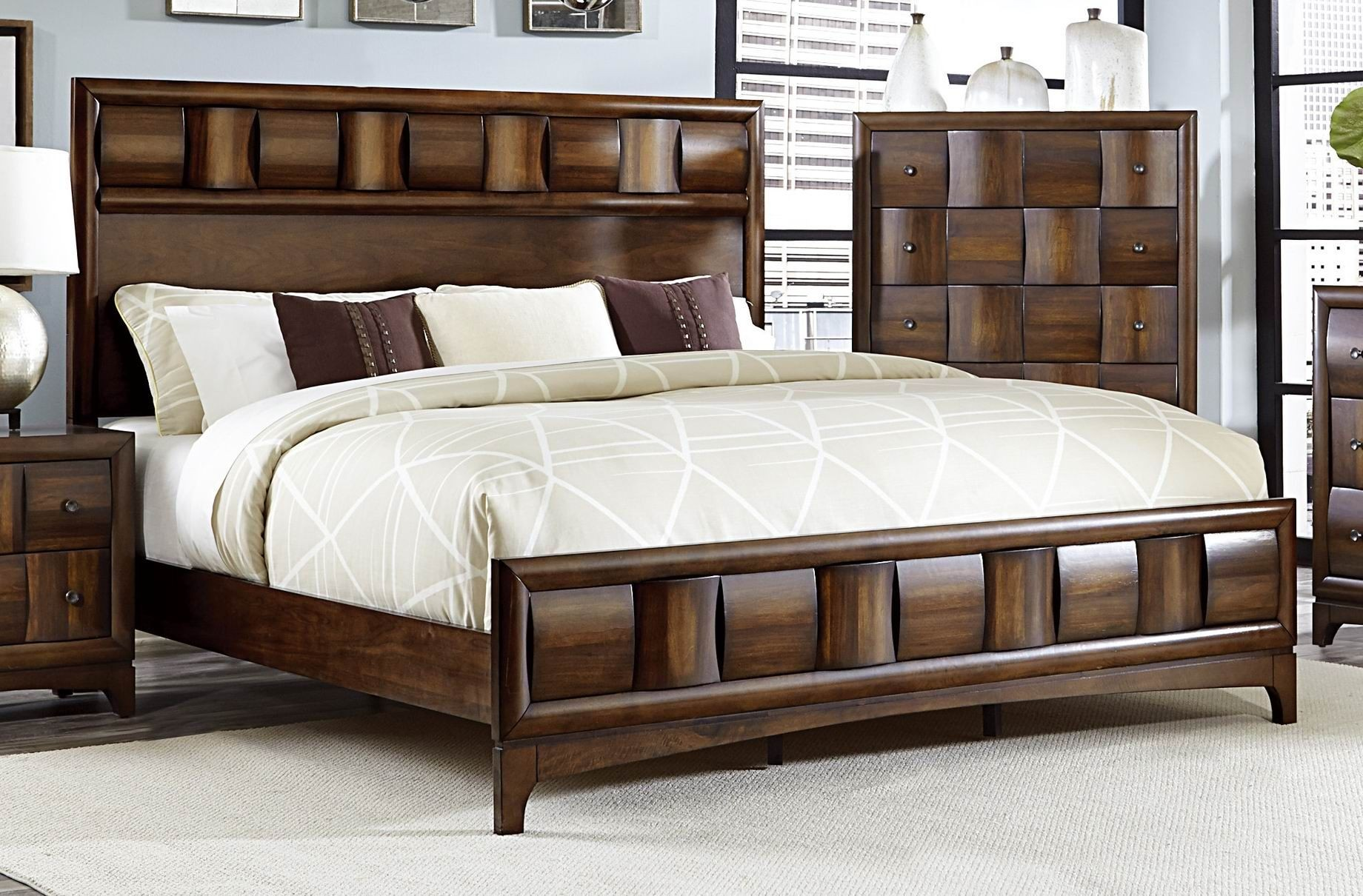 Porter Warm Walnut Cal King Panel Bed From Homelegance