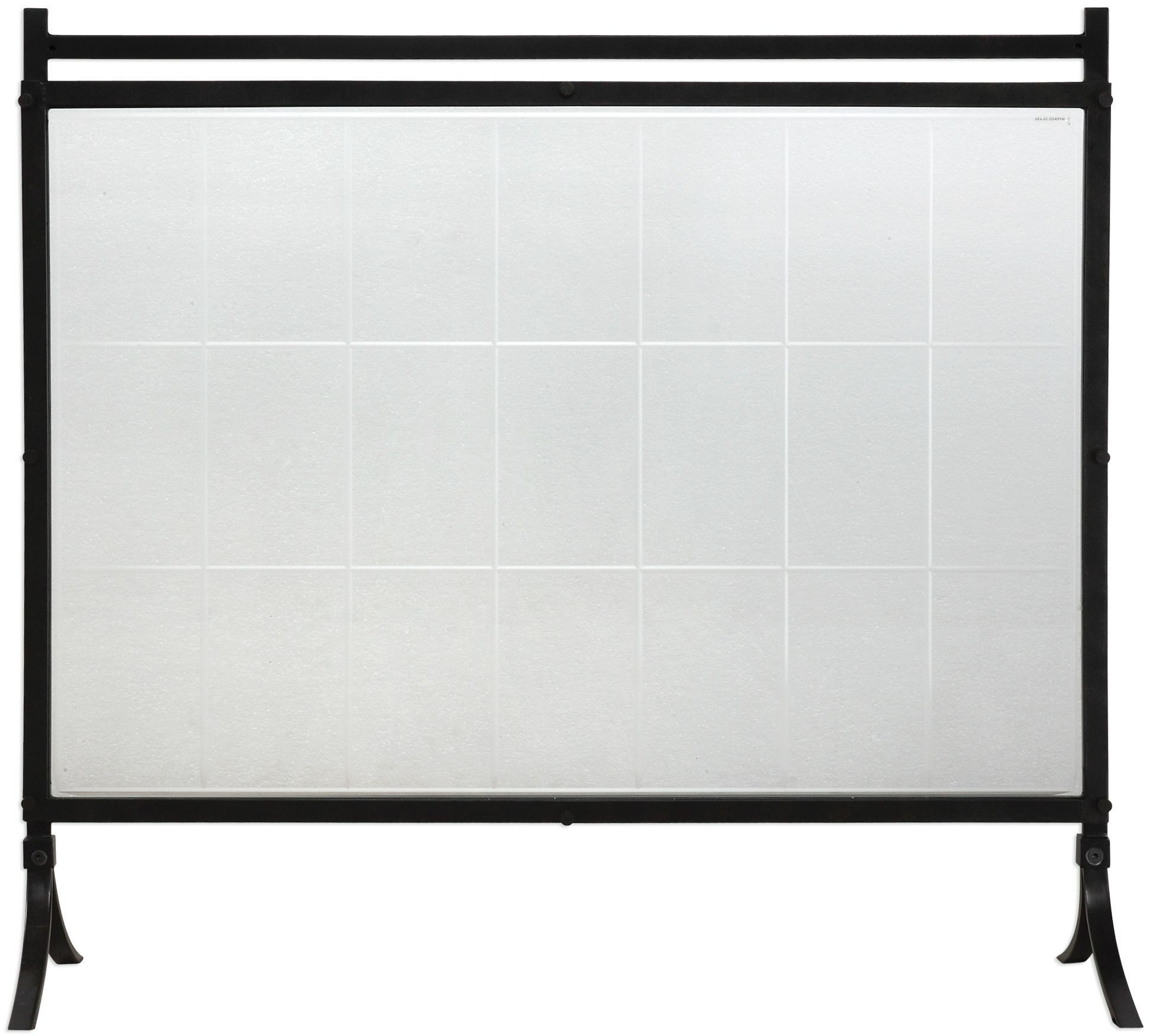 Tate Black Tempered Glass Fireplace Screen Uttermost