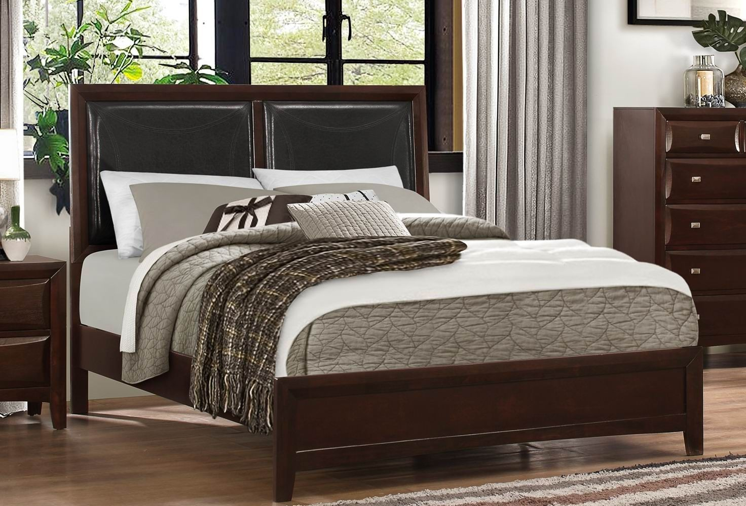 Summerlin Brown King Upholstered Panel Bed From