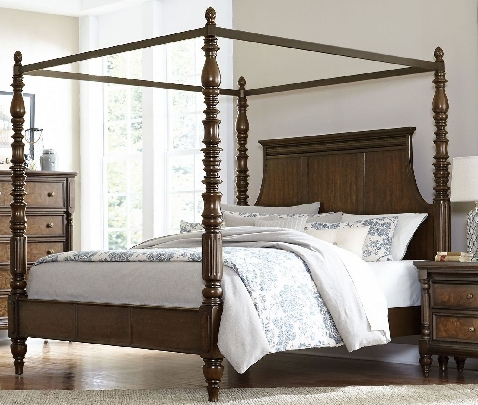 Verlyn Cherry Cal King Canopy Bed From Homelegance