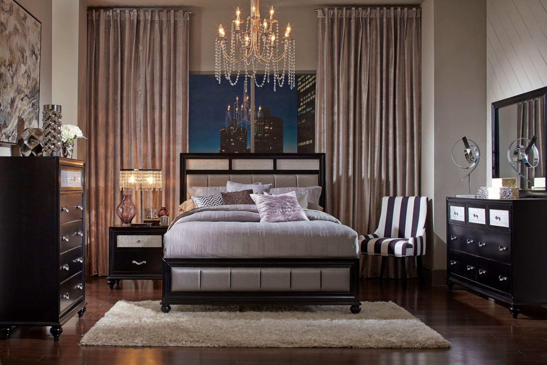 Barzini Black Platform Bedroom Set Q Coaster Furniture