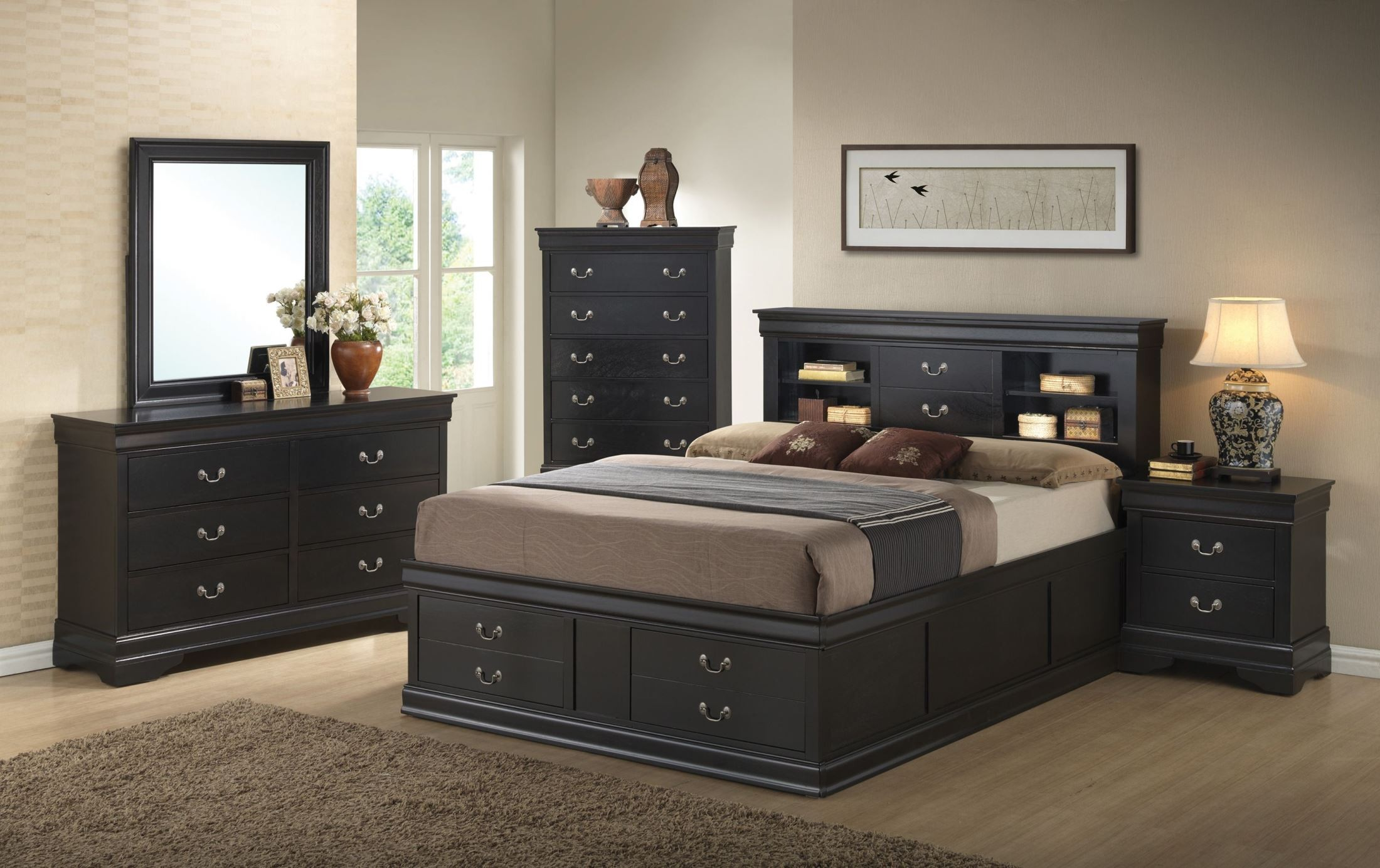 Louis Philippe Black King Storage Bed From Coaster
