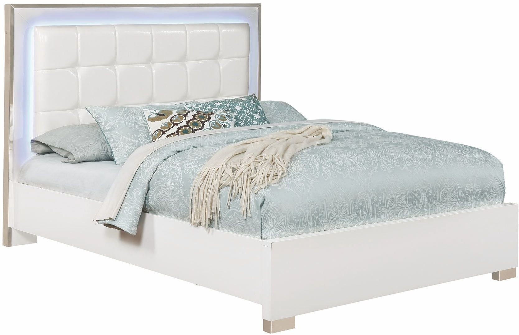 Traynor White King Upholstered Platform Bed From Coaster