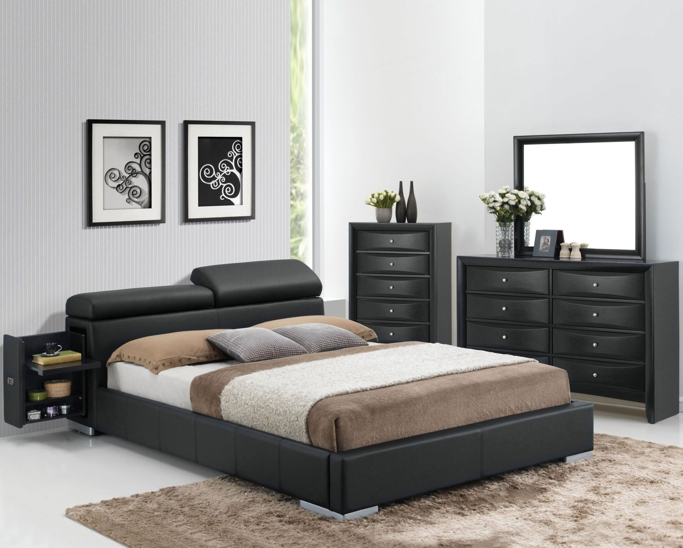Manjot Black King Hidden Storage Platform Bed From Acme