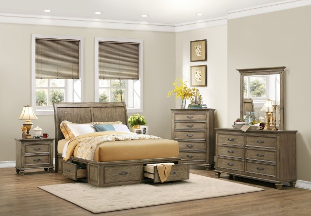 Sylvania Driftwood Cal King Platform Storage Bed from Homelegance