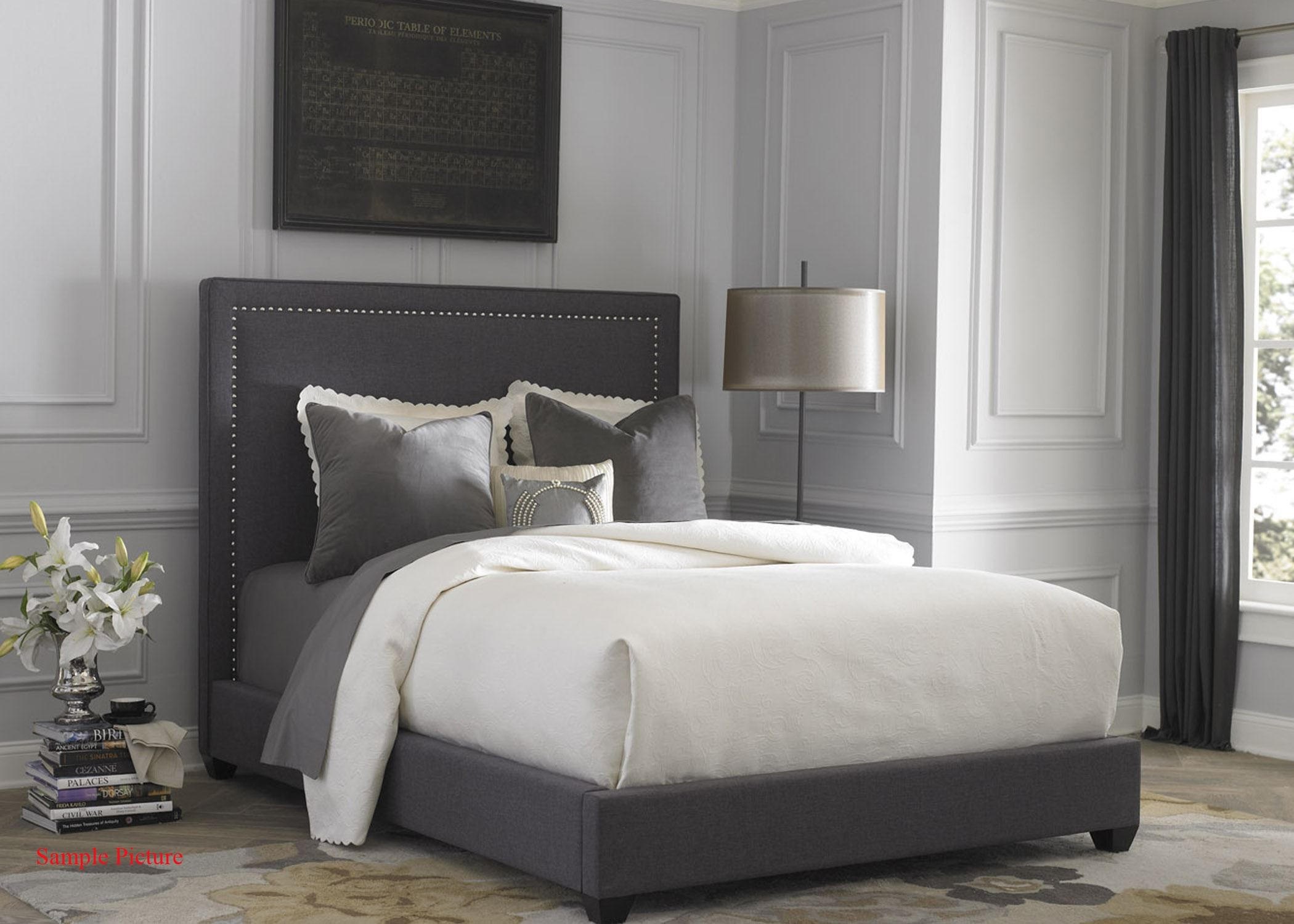 Dark Gray Upholstered King Panel Bed From Liberty 350