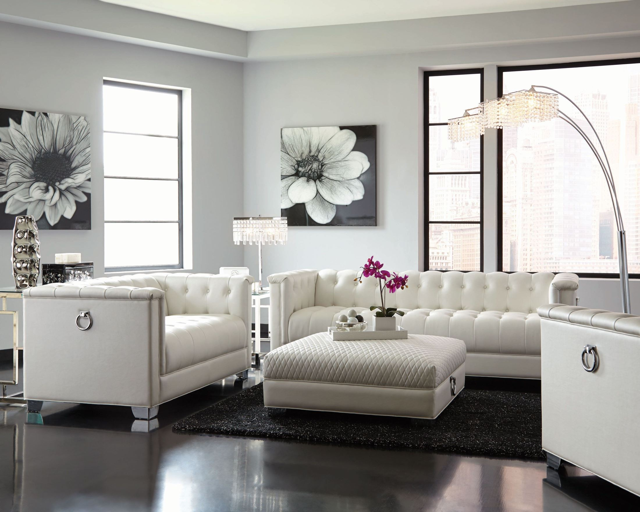 Chaviano Pearl White Living Room Set From Coaster