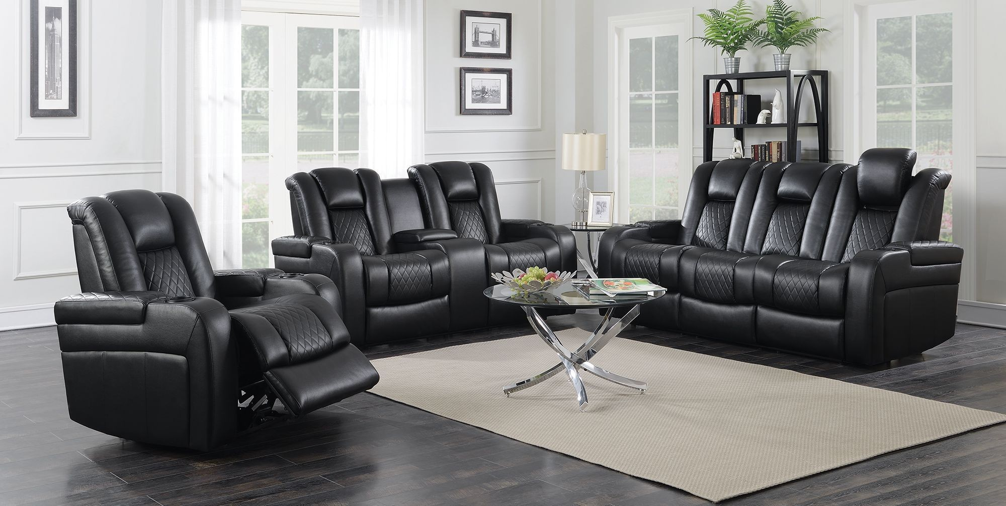 Delangelo Motion Black Power Motion Living Room Set From