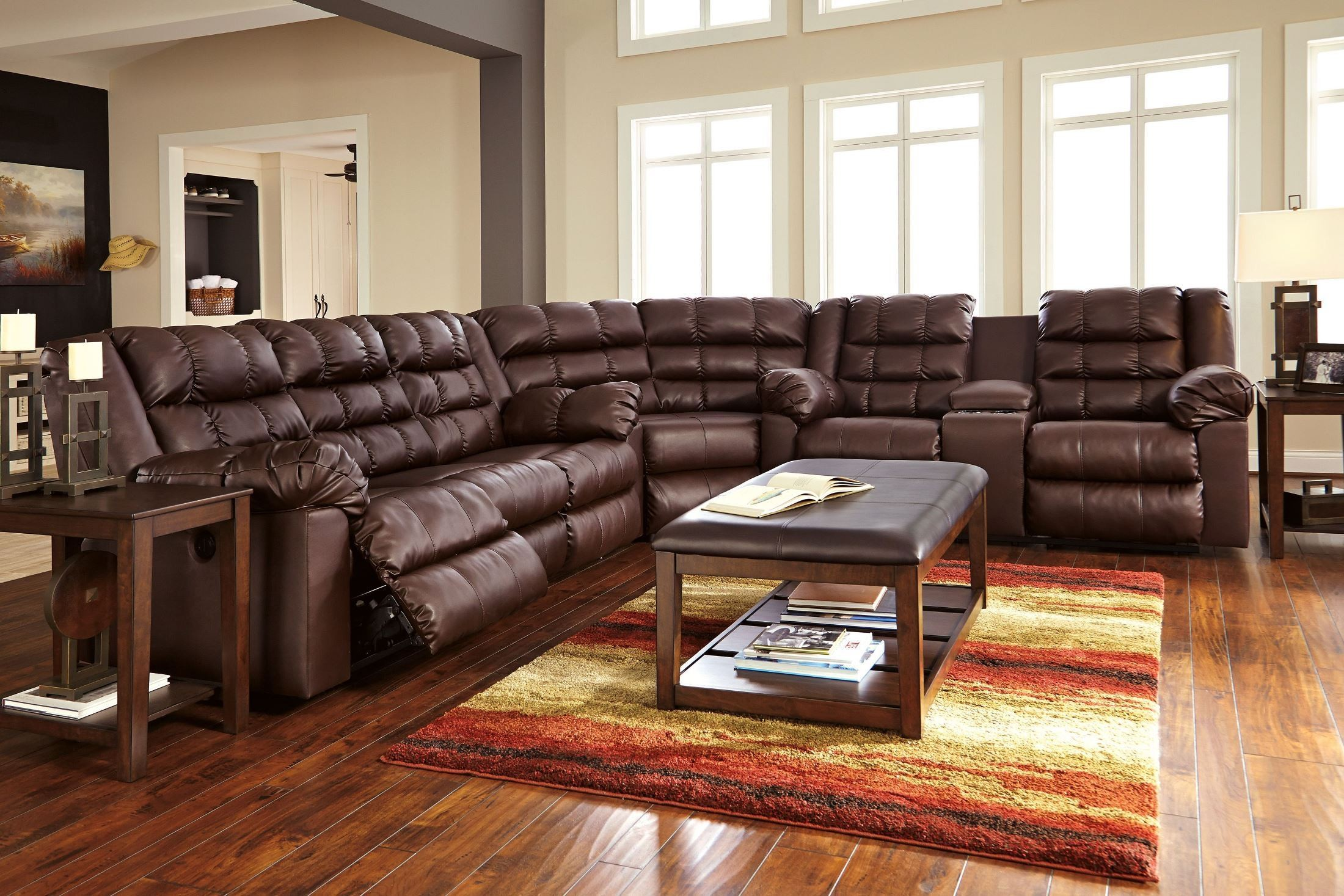 Brolayne DuraBlend Brown Reclining Sectional From Ashley