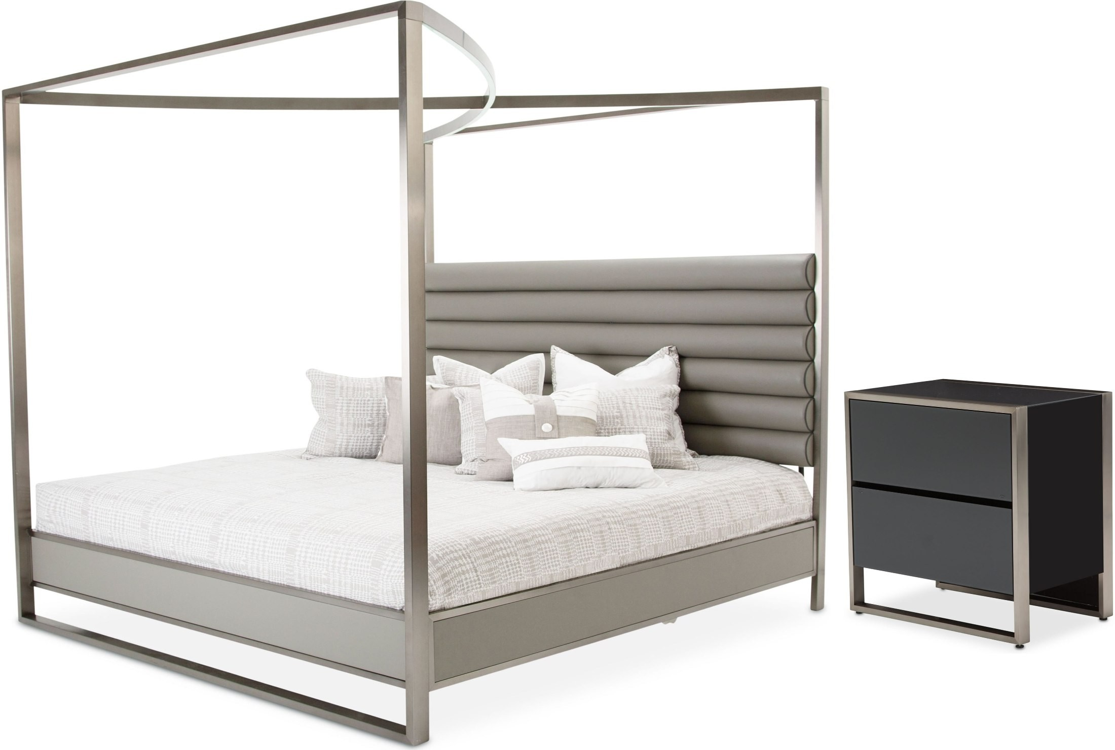 Metro Lights Midnight Cal King Metal Canopy Bed Ck