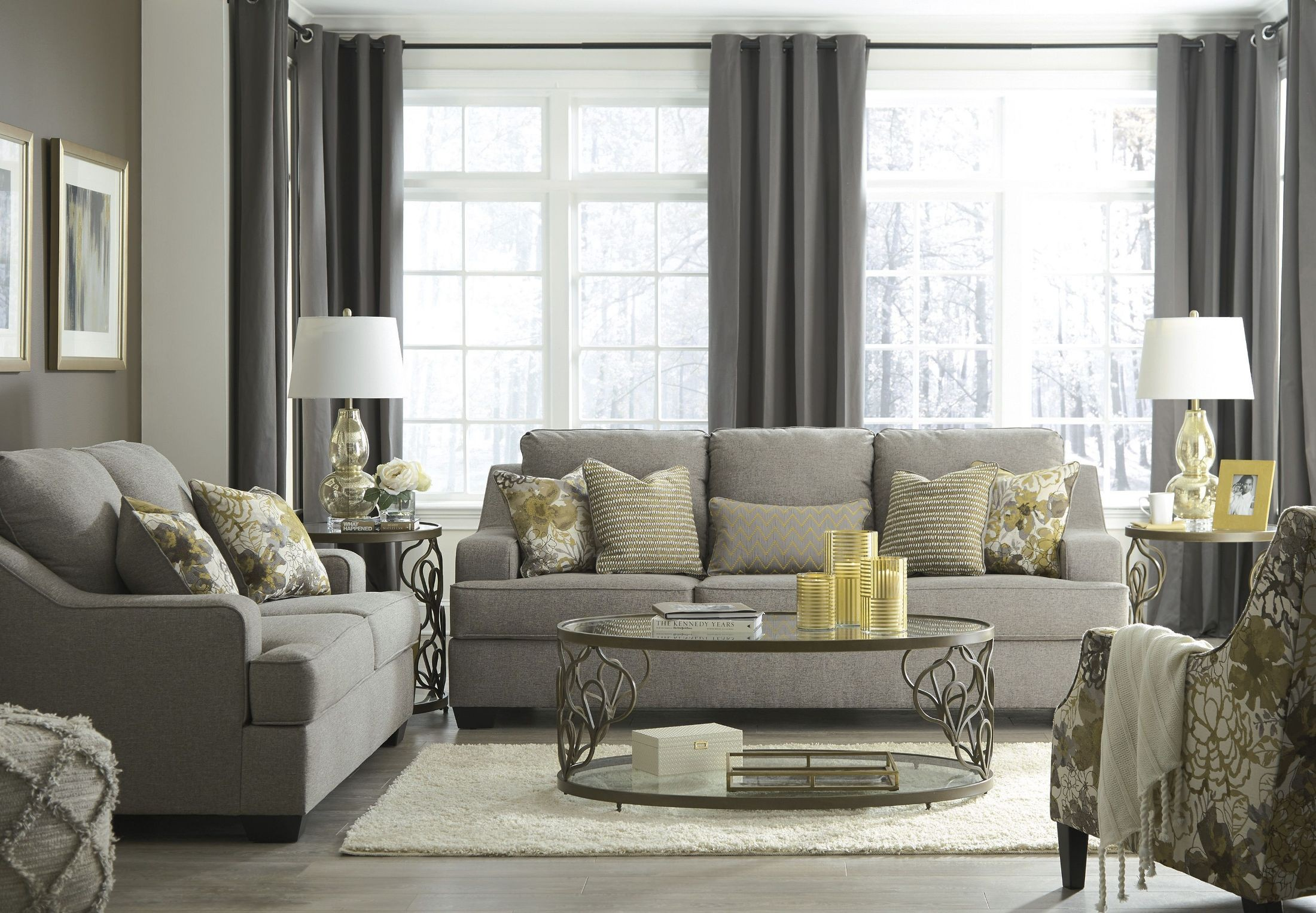 mandee pewter living room set from ashley | coleman furniture