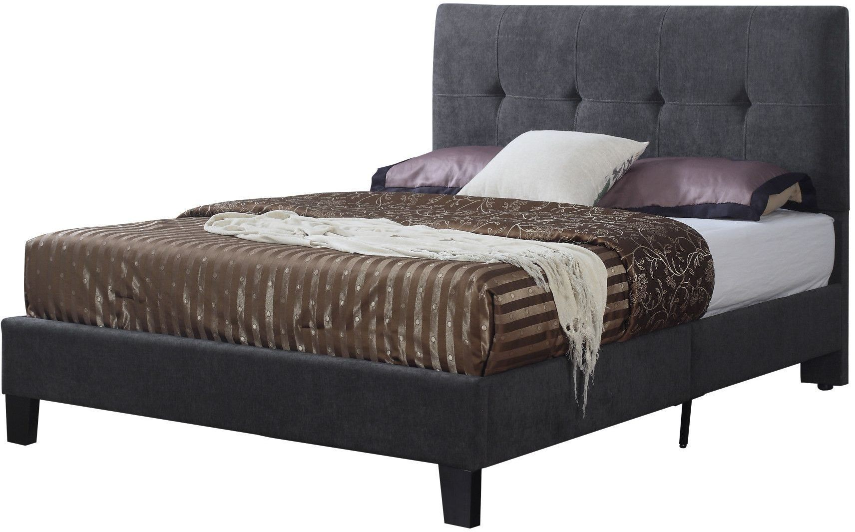 Harper Charcoal Cal King Upholstered Platform Bed From