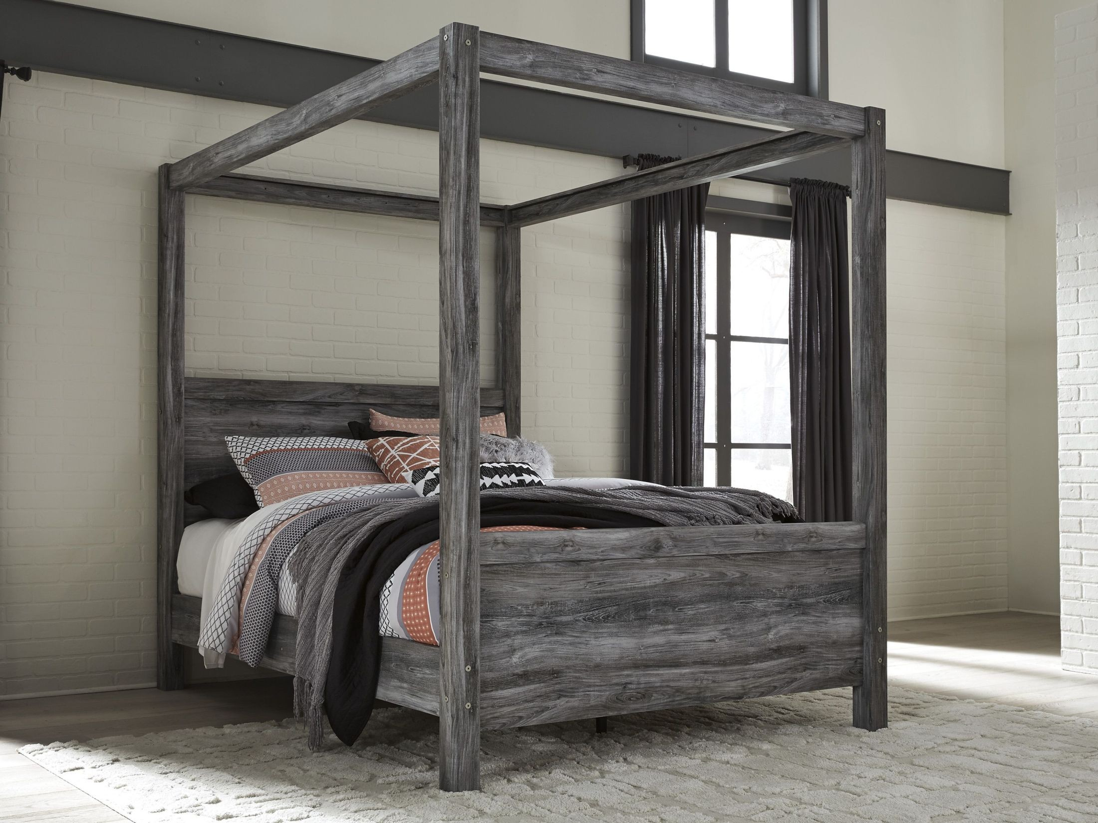 Baystorm Gray Queen Canopy Bed From Ashley