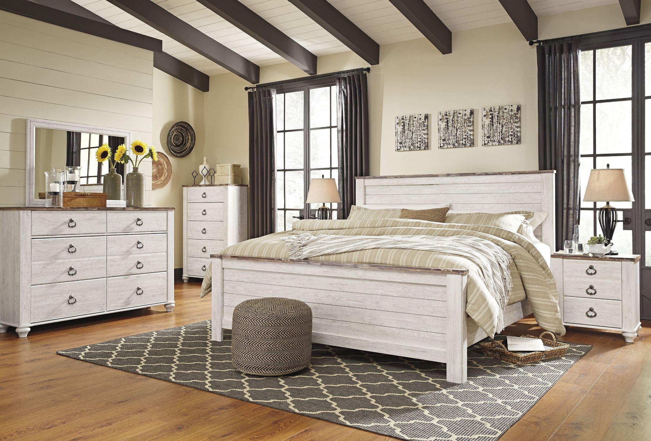 Willowton Whitewash Panel Bedroom Set B267 54 57 98 Ashley