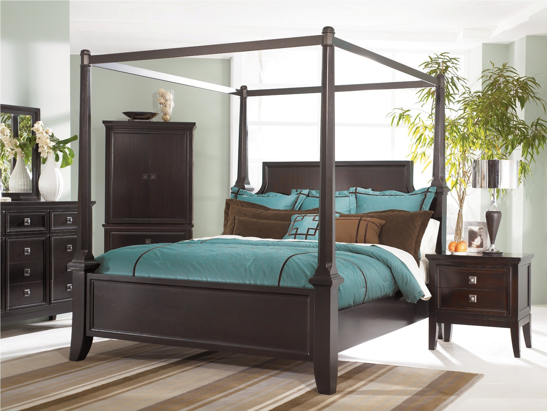 Martini Suite Cal King Canopy Poster Bed From Ashley