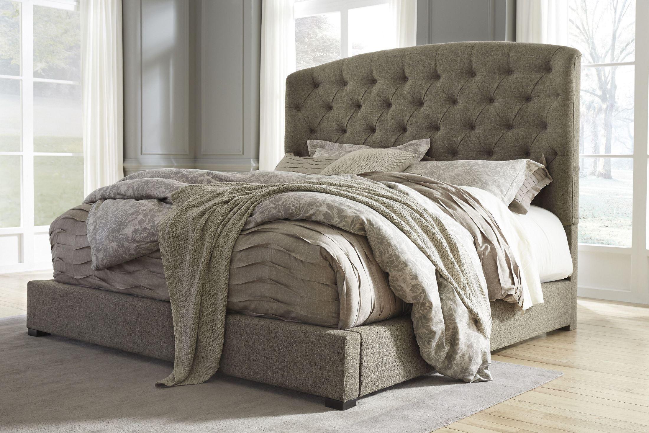 Gerlane Graphite Cal King Upholstered Panel Bed From