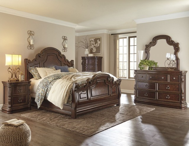 Florentown Dark Brown Sleigh Bedroom Set from Ashley ...