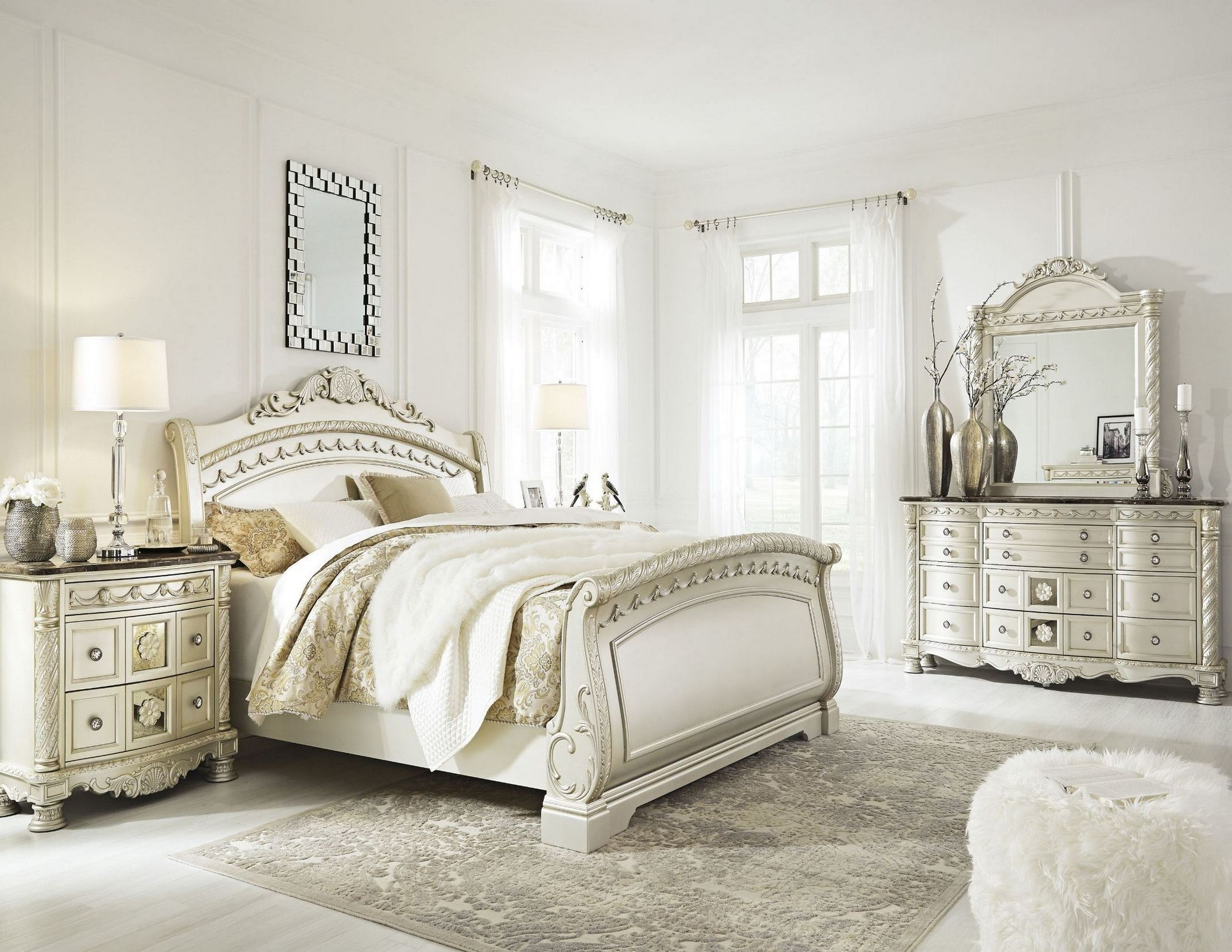 cassimore north shore pearl silver sleigh bedroom set from ashley