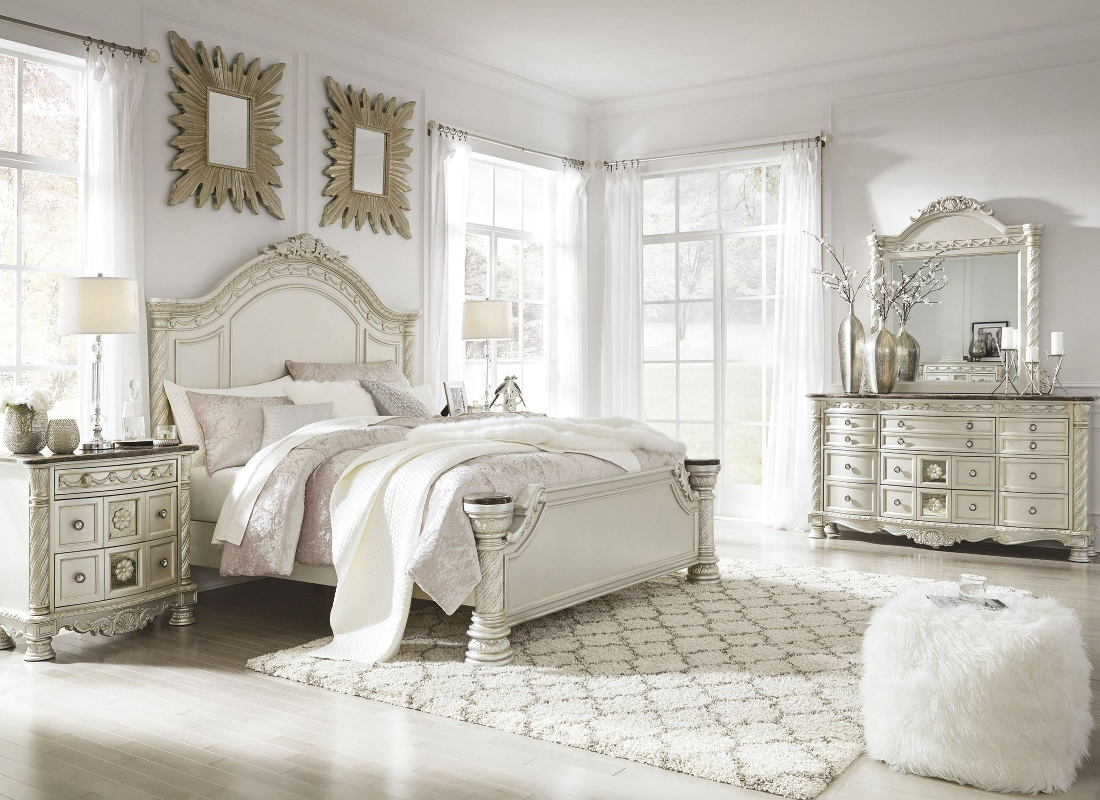 cassimore north shore pearl silver panel bedroom set from ashley