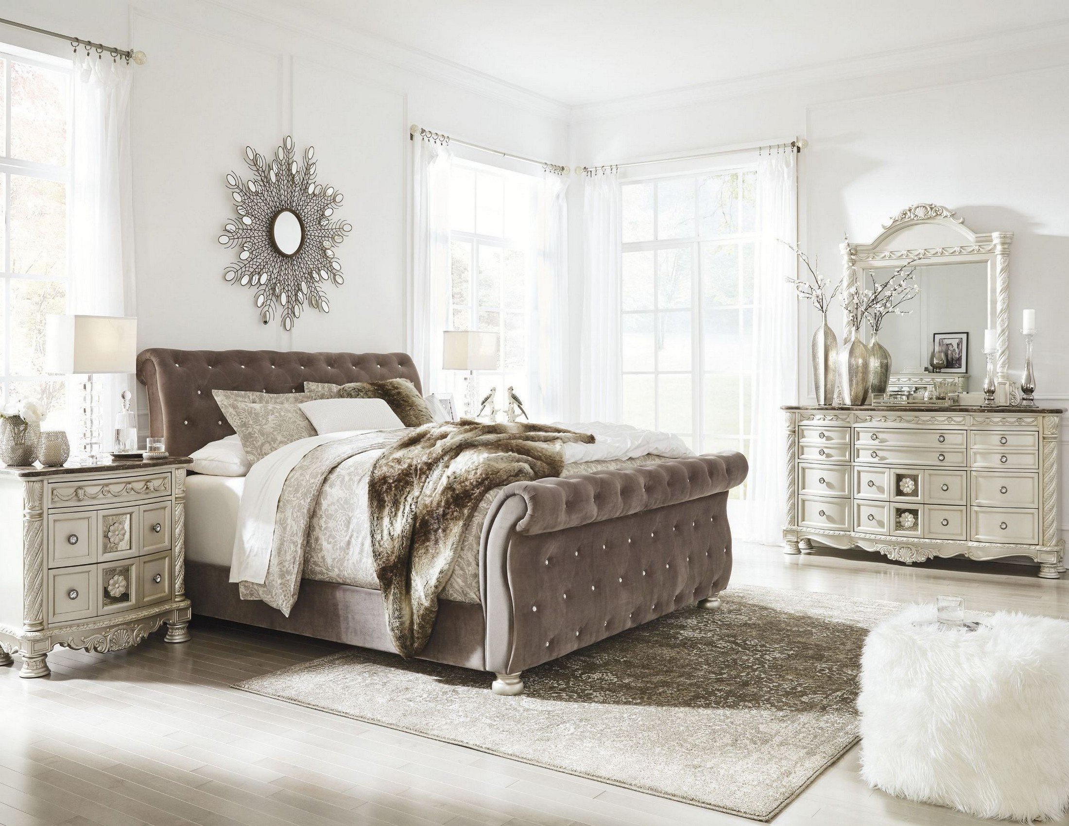 Cassimore North Shore Pearl Silver Upholstered Bedroom Set