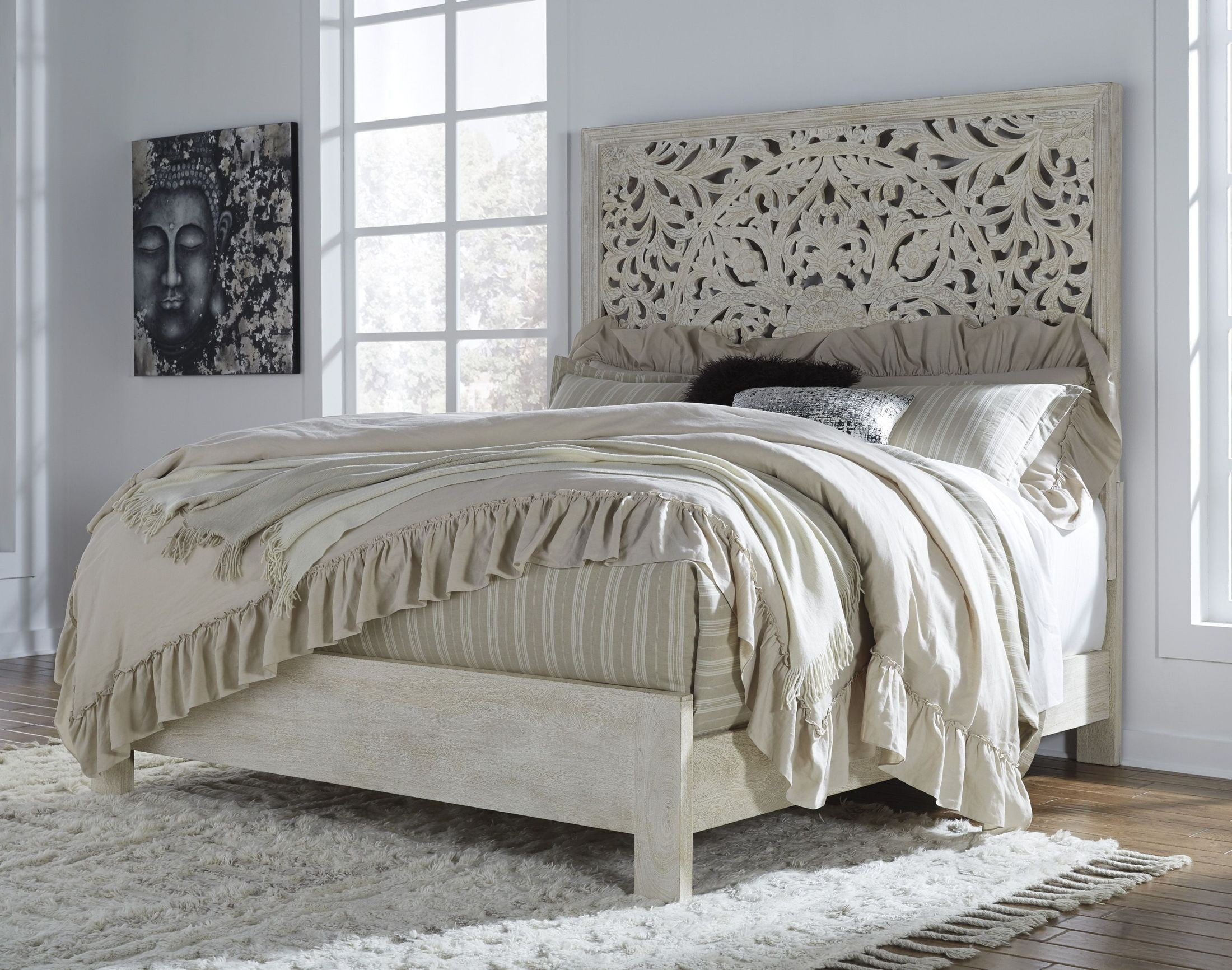 Bantori White King Panel Bed From Ashley