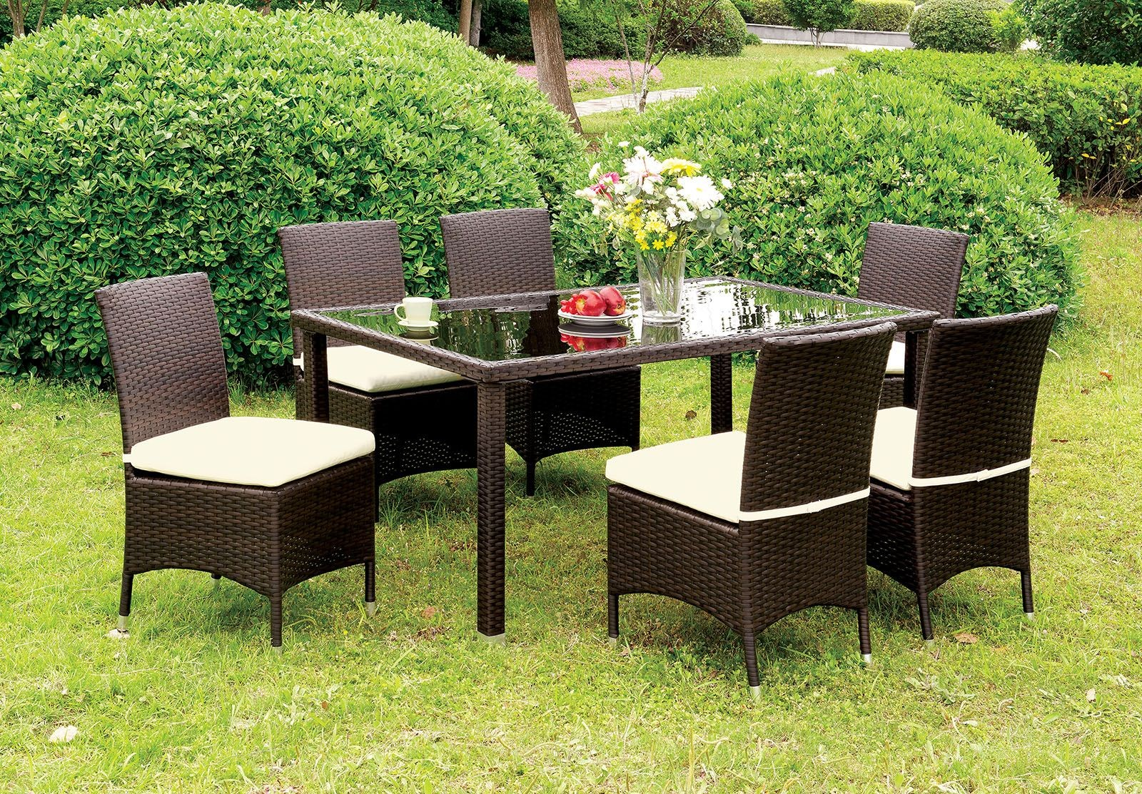 Comidore Espresso Patio Dining Room Set From Furniture Of