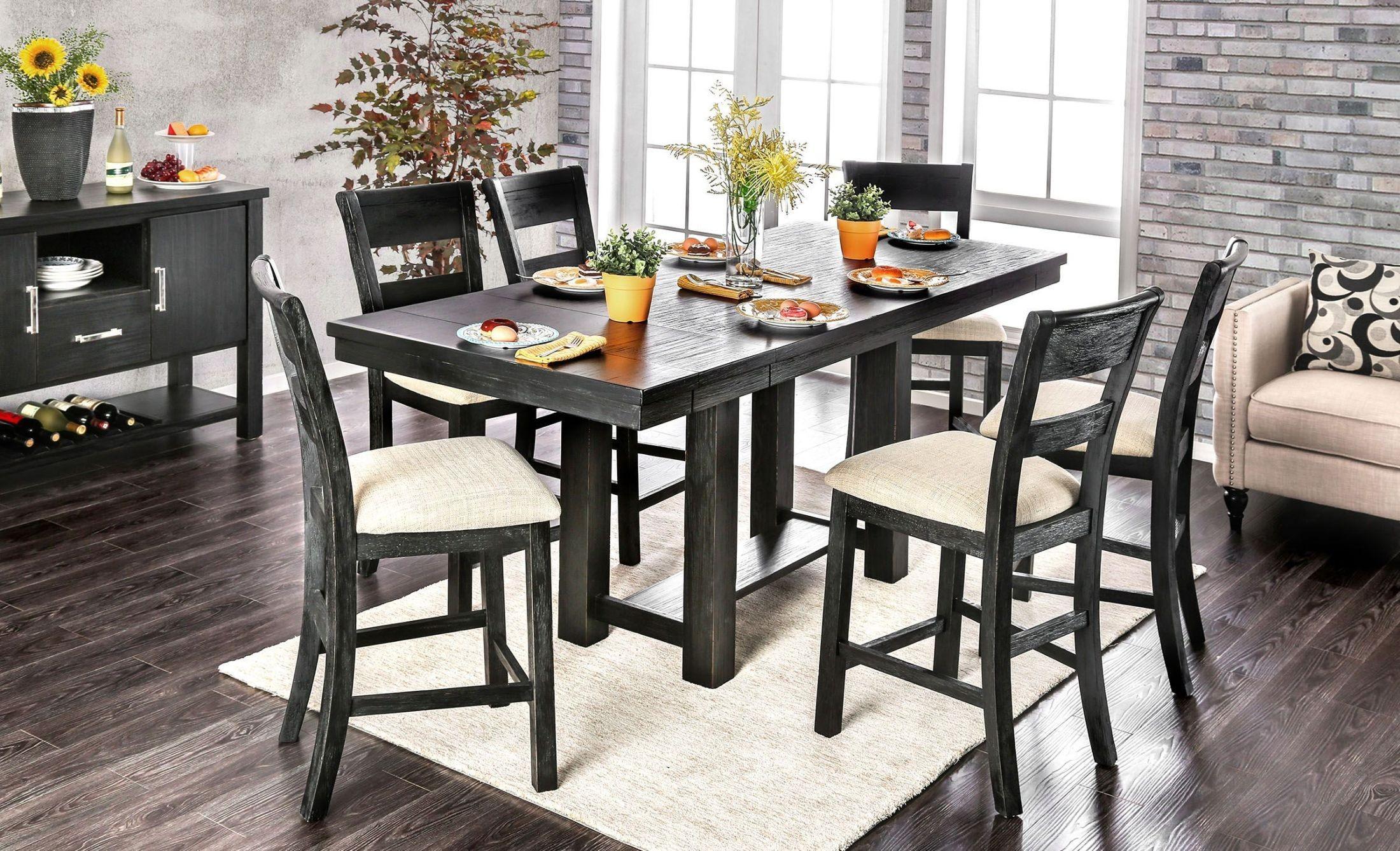Thomaston Brushed Black Counter Height Dining Room Set