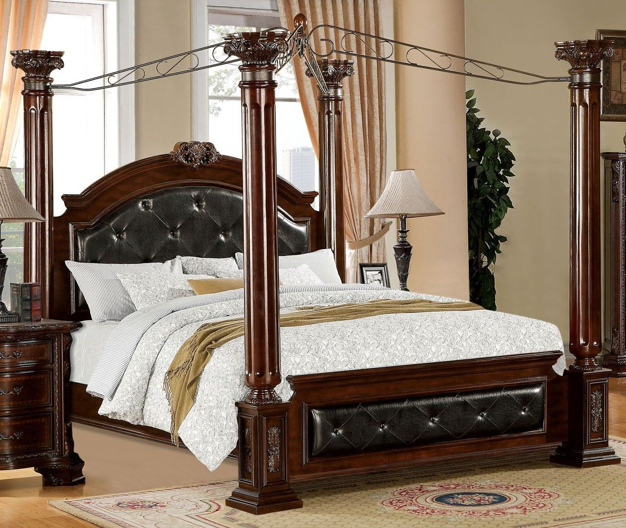 Mandalay Brown Cherry Cal King Poster Canopy Bed From