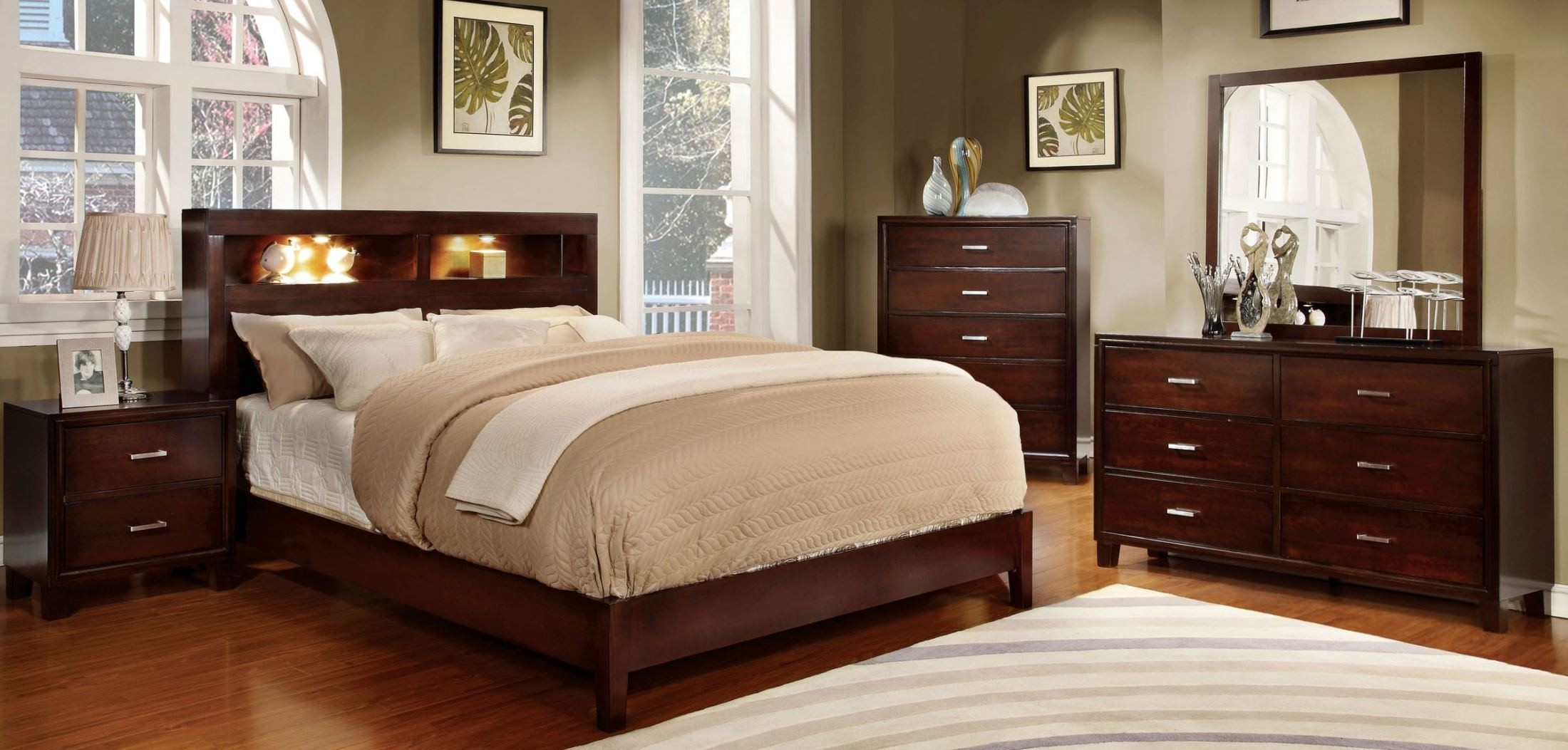 Gerico I Brown Cherry Bedroom Set From Furniture Of