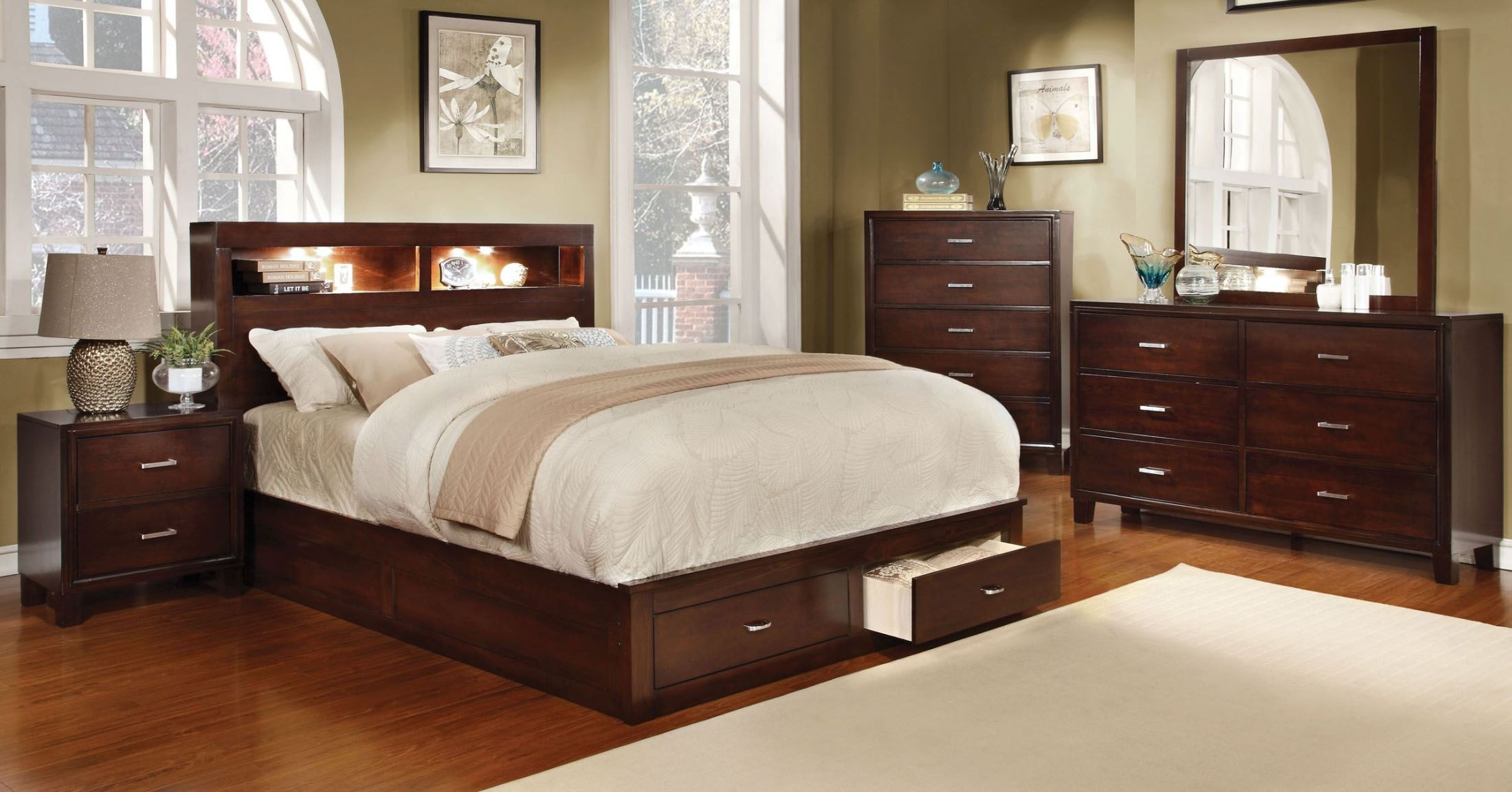 Gerico Ii Brown Cherry King Storage Platform Bed From