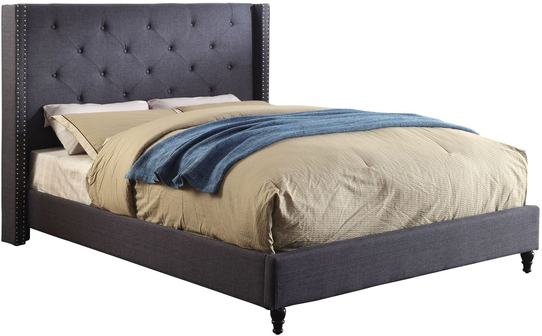 Anabelle Blue Cal King Upholstered Platform Bed Cm Bl