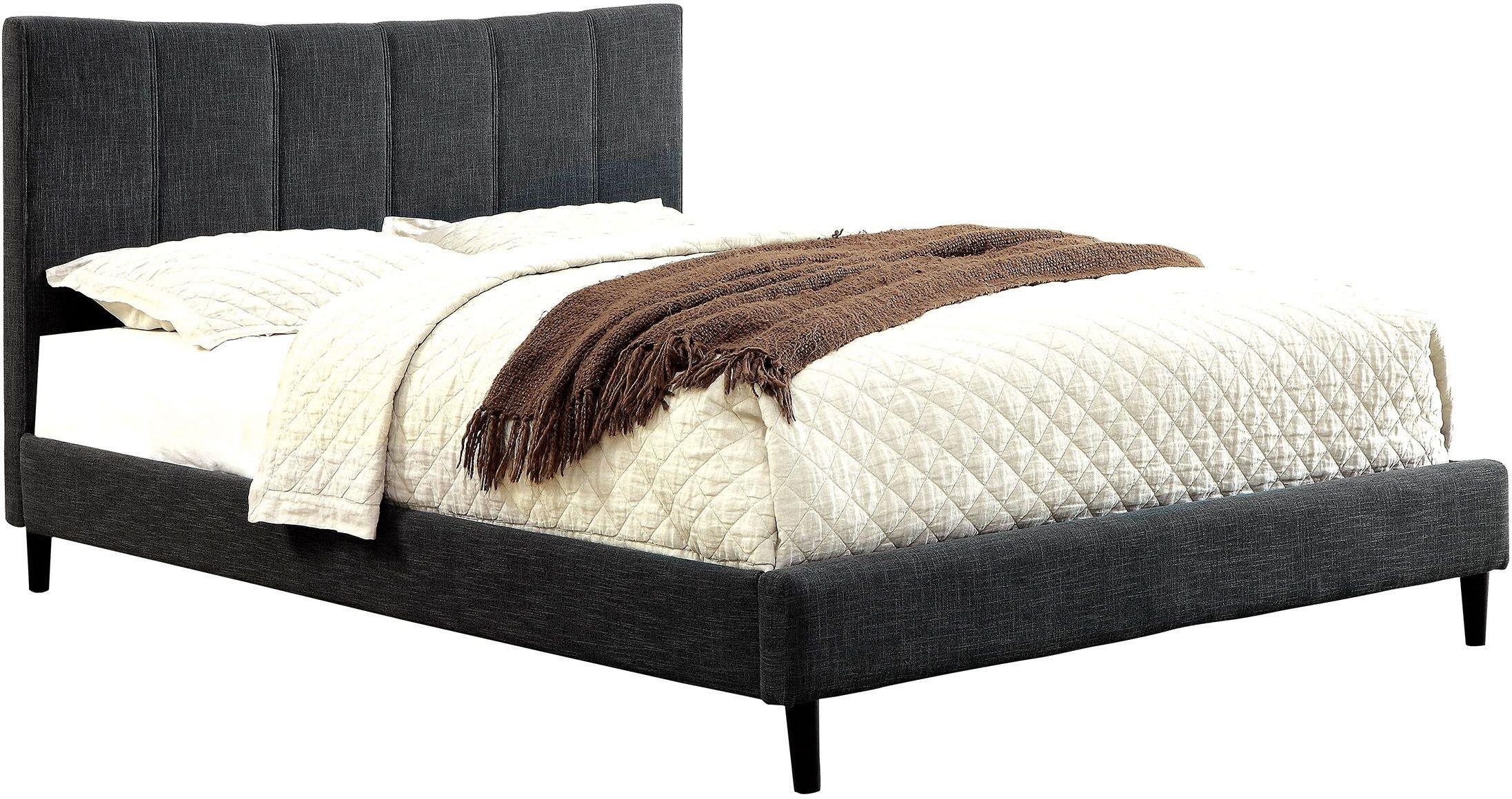 Ennis Dark Gray King Upholstered Panel Bed Cm Gy Ek