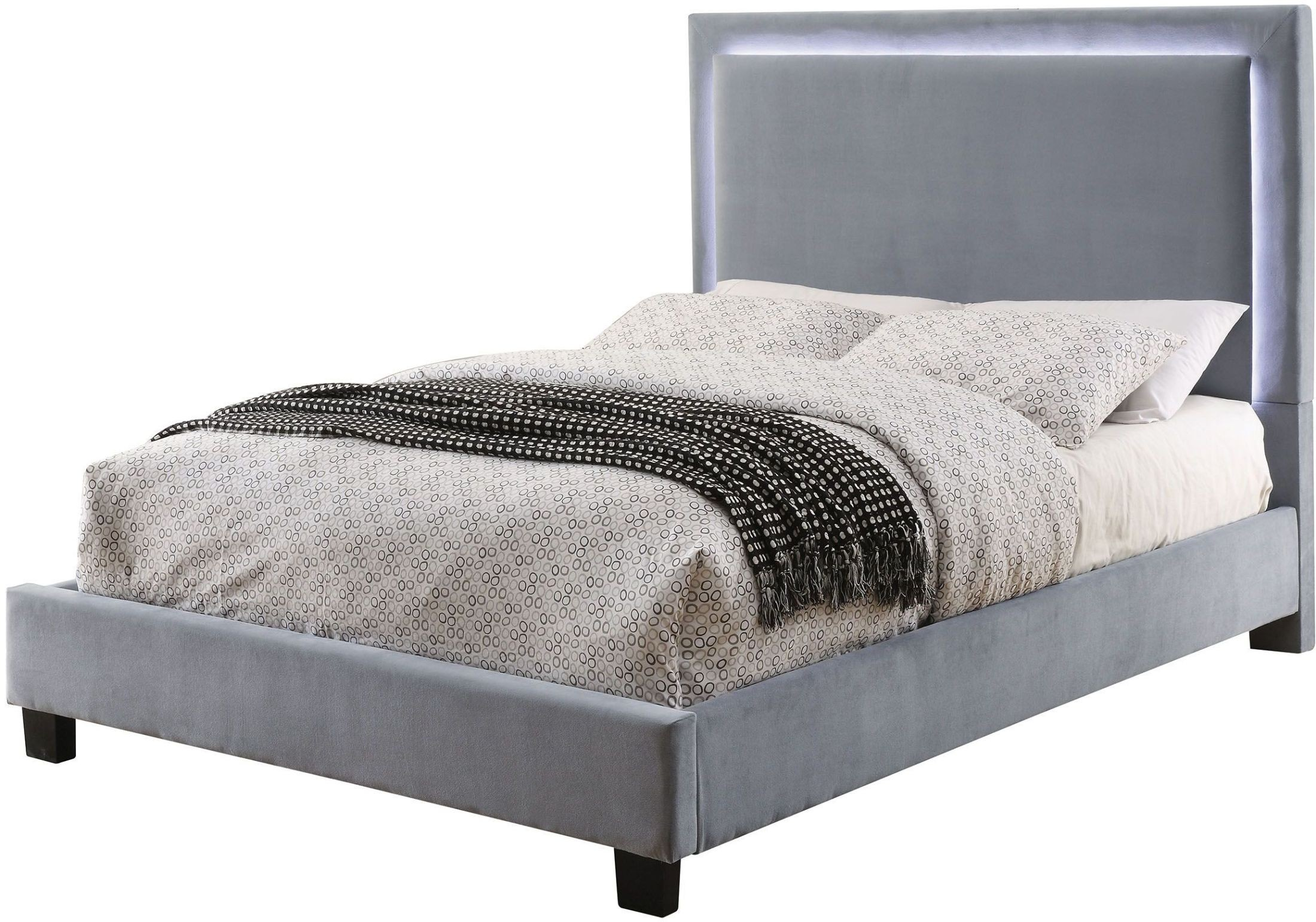 Erglow I Gray Cal King Upholstered Panel Bed Cm Gy Ck