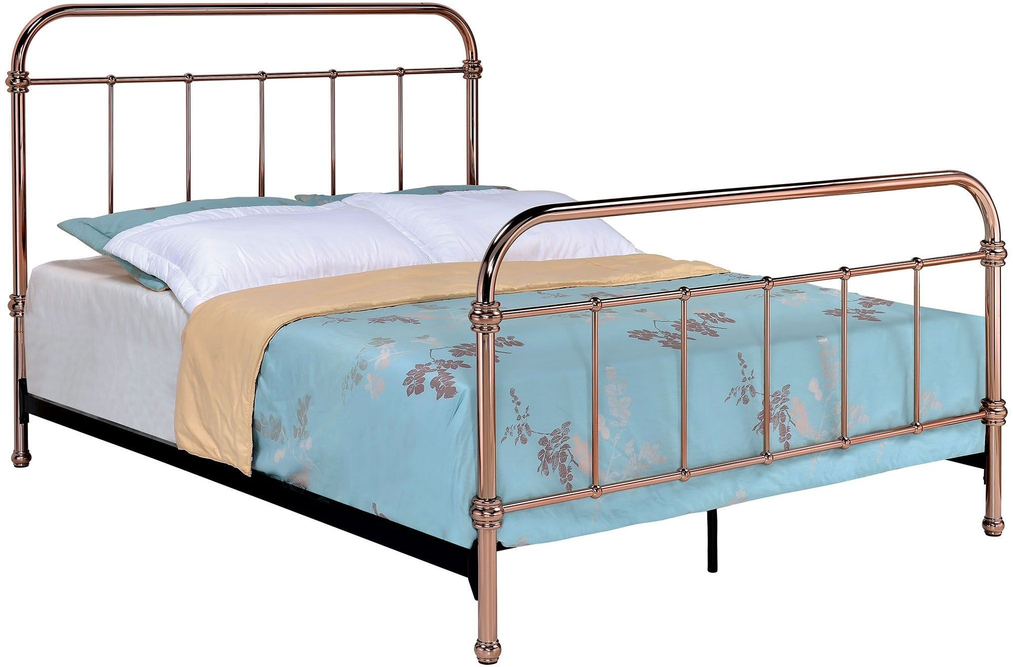 Tamia Rose Gold Queen Metal Panel Bed, CM7739Q, Furniture