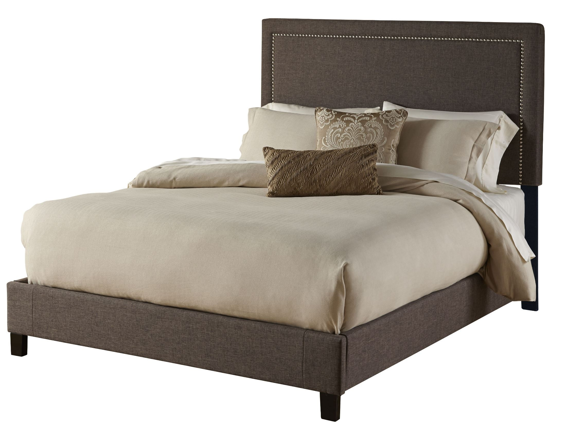 Square Nailhead King Upholstered Platform Bed Ds 270
