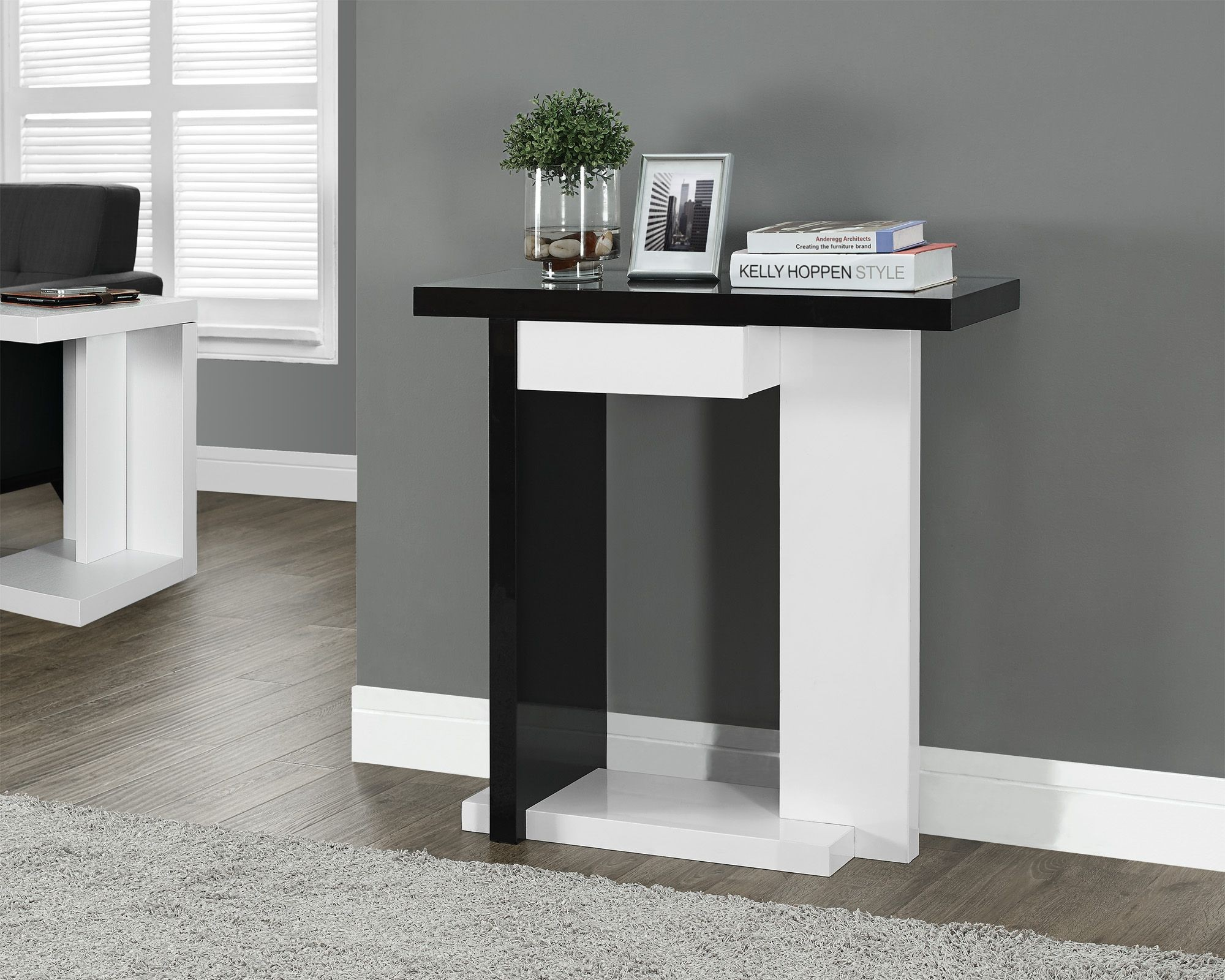 """Glossy White/Black 32"""" Hall Console Accent Table From"""
