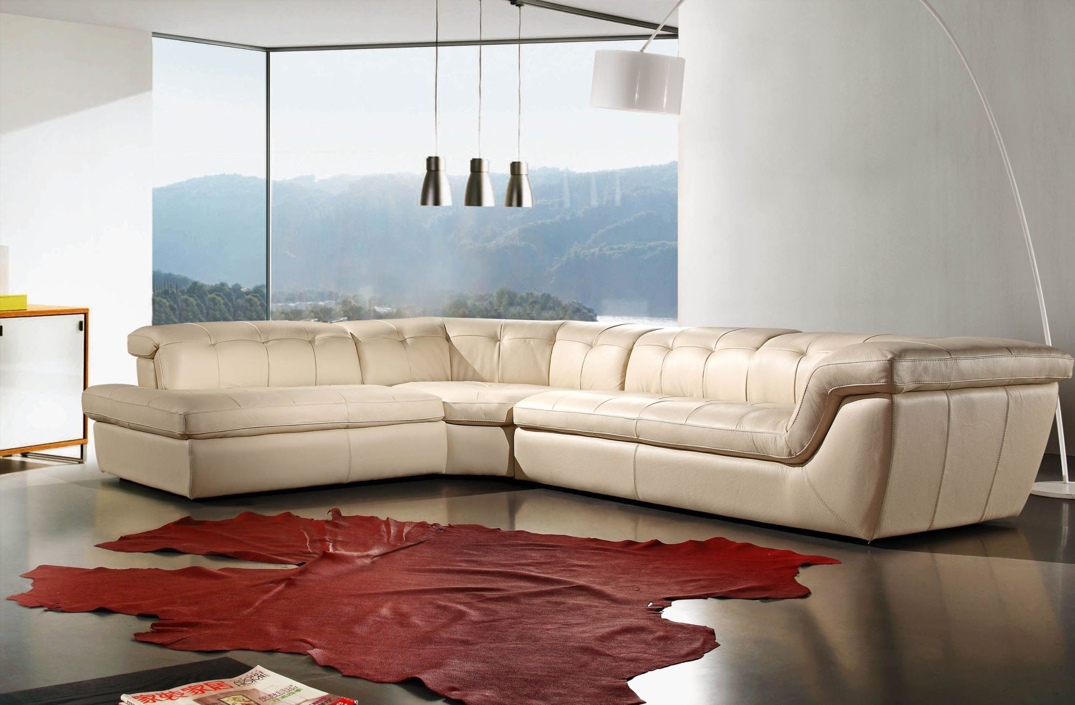 397 Beige Italian Leather LAF Sectional From J&M (17544291