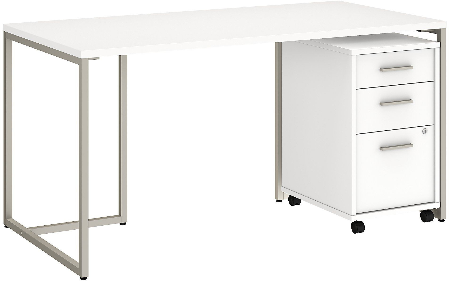 "Method White 60"" Table Desk With 3 Drawer Mobile File"
