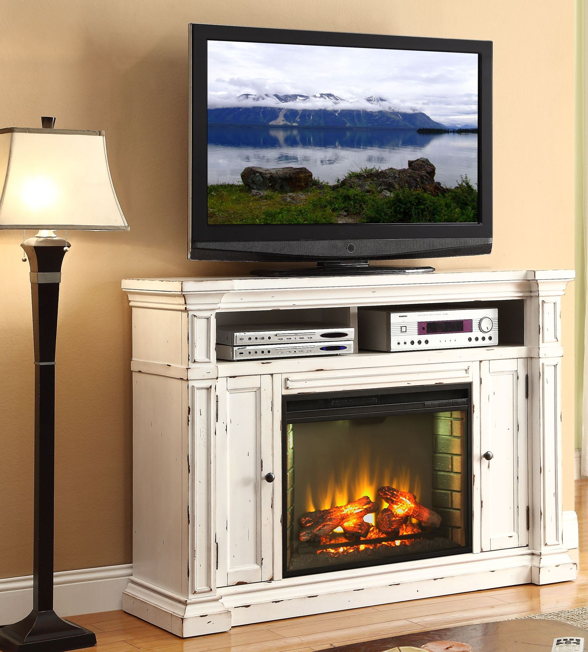 New Castle Rustic White Fireplace Media Center From