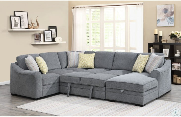 elle gray fold out queen sleeper raf sectional