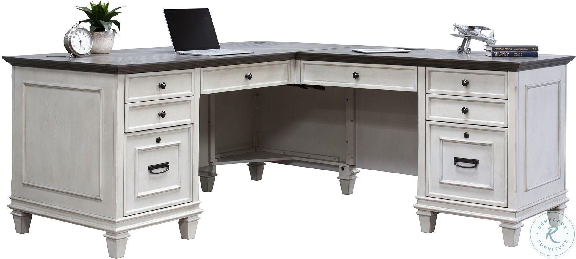Hartford White Pedestal Desk From Martin Furniture Furnitureetc Com