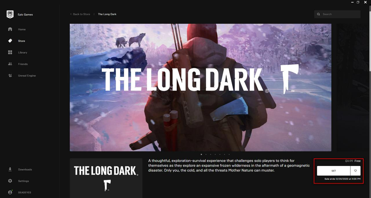Epic The Long Dark