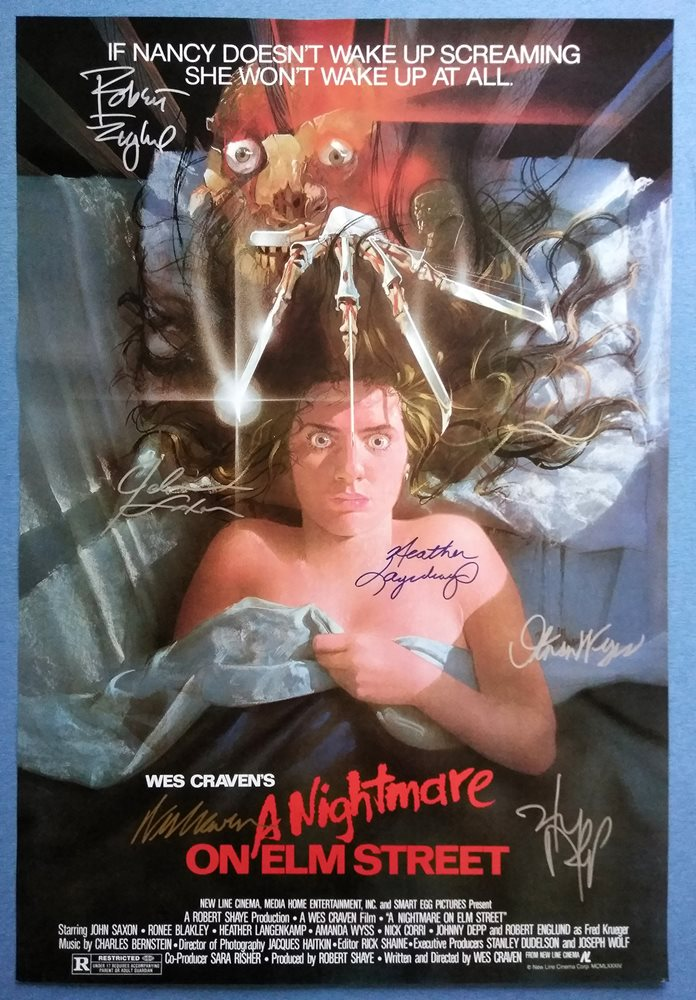 a nightmare on elm street movie poster signed by 6 cast with coa authentic