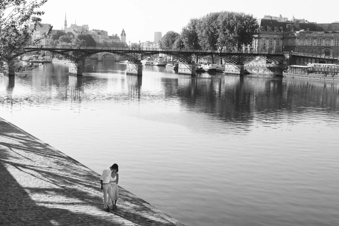 Couple Paris Seine Engagement black and white