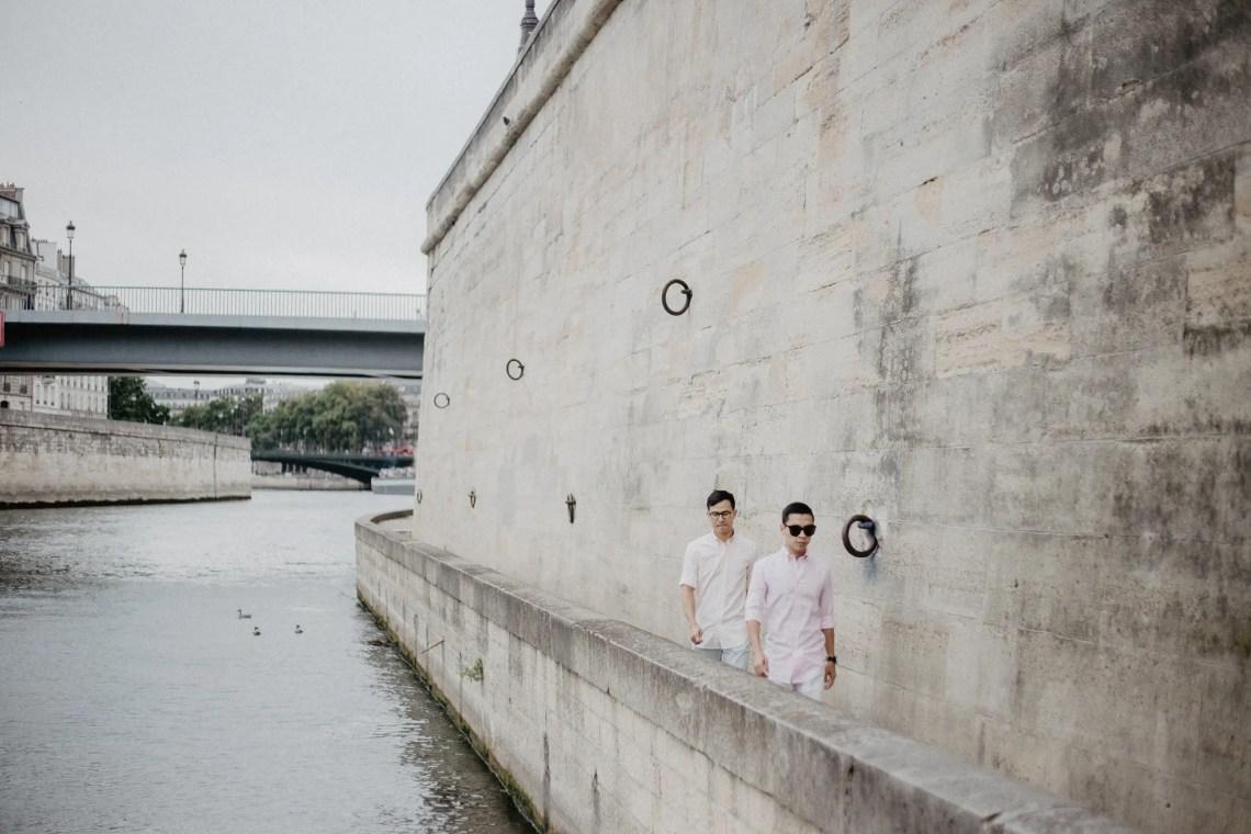 Away We Wow - gay same sex couple photography paris - travel blogger quai de seine river